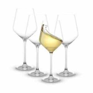 JoyJolt Layla White Wine Glasses 13.5 oz Set of 4 European Crystal Stemmed Glass