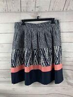NWT George Womens Skirt Size 12 Black 100% Cotton A-line Geometric Career Wear