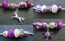 5 Purple Mix Glass Sparkle Rhinestone Animal Beads, fit European Charm Bracelet
