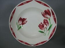 4 assiettes creuses Badonviller fleurs rouges