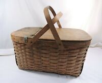 Vintage 50s 60s Woven Wood Picnic Basket Hinged Lid Bentwood Handles 19x13x10