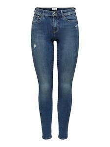 Only Damen Jeans-Hose Skinny OnlWauw Mid-Waist Denim blau Neu Used-Look