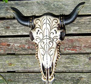Verzierter Bullenschädel Deko 25cm Stierschädel Geweih Stier Kopf Hörner Bulle