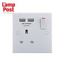 BG 921U2 - 1 Gang 13A Single Plug Socket with 2 x USB Charger