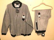 New Velour Grey Black Sean John Track Suit XL $$ Drop Top and Bottom