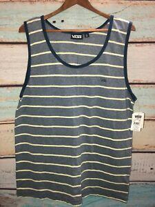VANS Boys Marcel Tank Top Blue Yellow Striped New