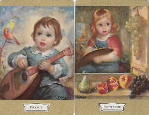 #47 2 single vintage single playing swap cards - Artist - Pierrot/Peintresse JS
