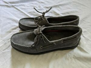 New Mens Sperry Authentic Original Suede 2-Eye Boat Shoes Gray Teen US 7.5