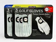 Kirkland Men's Golf Gloves Premium Cabretta Leather 3 Pack Large Free Shipping