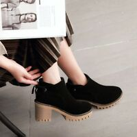 Womens Platform Block High Heels Ankle Boots High Top Lace Up Round Toe Shoes