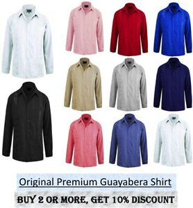 Omega Guayabera Original Cuban Long Sleeve dress shirt Wedding Cigar Bartender