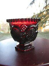 "Vintage AVON Red Ruby Pedestal Glass Cape Cod Sugar Bowl ~ 3.25"" H"
