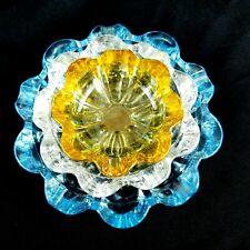 Mid Century Modern Stacking Nesting Ashtrays Vintage Flower Glass Set Of 3