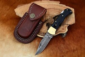 MH KNIVES CUSTOM DAMASCUS STEEL FOLDING/POCKET BUFFALO HORN LINER LOCK MH-19N