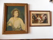 2 JESUS VINTAGE PRINTS 1940*S ORGINAL BY HEINRICH HOFMANN ORIGINAL GLASS