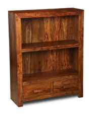 CUBE SHEESHAM 2 DRAWER BOOKCASE (C31W)