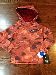 NWT$44 Nike Small Boy Therma-Fit Fleece Pullover Hoodie Red rush Camo 2T 4 5 6 7