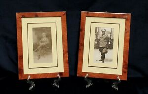 COPPIA DI FOTOGRAFIE D'EPOCA DI SOLDATI WW /  CORNICI IN RADICA - cod. 19114