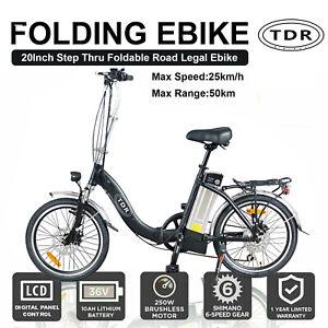 36V 250W Folding Foldable Electric Bicycle Ebike City Bike Cycling 10Ah Lithium