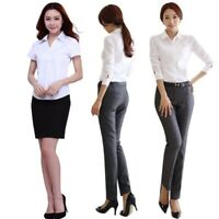 Womens Ladies Formal Business OL Button Up Long Sleeve Top Shirt Casual Blouse