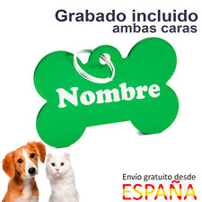 Placa identificativa perros hueso verde mediana chapa para perros 38 x 25 mm