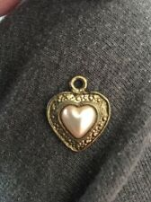 Vintage Heart Pendant Stamped Brass Faux Pearl Fashion Jewelry