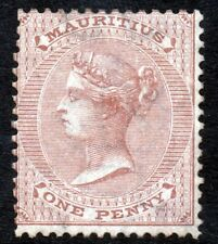 MAURITIUS Queen Victoria 1872 One Penny Bistre Watermark Crown CC SG 58 MINT