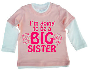 """New Sister Top """"I'm Going to be a Big Sister"""" Cute Baby Girl Skater Top Clothes"""