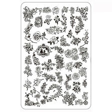 XXL Blumen Stamping Schablone Nail Art Platte Rose Ranken Sommer Frühling #4