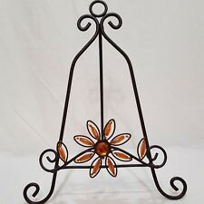 """Large Plate Stand Book Decorative Metal Easel 12"""" Flower Beads"""