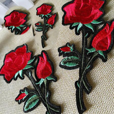 Large Red Rose Gardening Flower on Vine Iron on Applique Embroidered Lace Patch