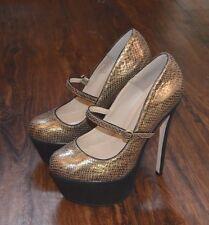 Zigi Girl 'Skill' Gold and Bronze Snake Pattern Leather Platform Heels (Sz 9 US)