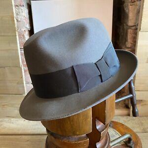 VTG Gran Mondo Fedora Trilby Hat Grey EU 57 UK 7 US 7 1/8 Stingy Fur Felt