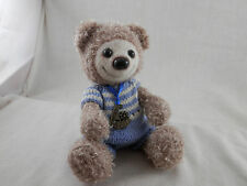 """Vintage Bear 7"""" Fuzzy Shiny movable arms, legs and head handmade knitted suit"""