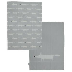 Scion Mr Fox - Set of 2 Tea Towels - Grey