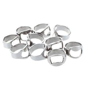 10x Finger Thumb Ring Bottle Opener Bar Beer Tool Silver Stainless Steel DT