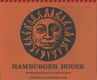 Vintage HAMBURGER HOUSE Restaurant Menu 1966