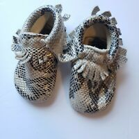 Freshly Picked Size 2 Snake Moccasins Leather Soft Sole Shoes Baby Metallic