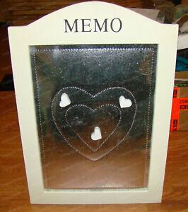 Galvanized Metal FARMHOUSE Framed Magnetic MEMO BOARD, Heart Magnets