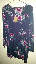 JOULES TUNIC DRESS FRENCH NAVY PINK CHRISTMAS CAMELLIA FLORAL UK 20 EU48 US16