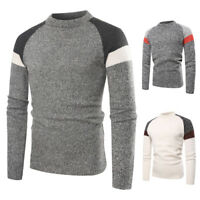 HOT Men's Warm Crew Neck Jumper Knitted Pullover Men Warm Winter Splice Sweater