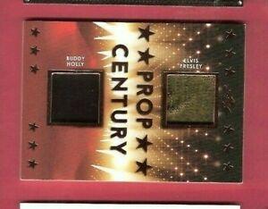 Elvis Presley & BUDDY HOLLY 2 WORN RELIC SWATCH WARDROBE CARD LEAF PROP CENTURY