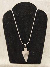 "Rose Quartz Gemstone Arrowhead Pendant Necklace .925 Silver, 22"" Free Shipping!!"