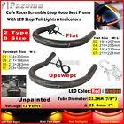Scrambler Rear Seat Frame Hoop Loop w/ LED Brake Turn Tail Lights For Cafe Racer