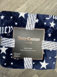 """Juicy Couture Plush Home Throw Blanket 127*178cms 50"""" X 70""""  Designer Blue Stars"""