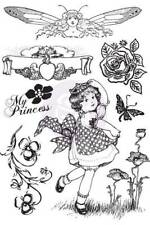 Prima Cling Stamps PRINCESS Girl 4x6 Mixed Media Planner Tags 7pc 951078