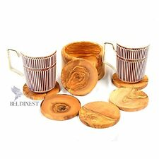 Hand Carved Large Coaster Set and Holder/ Handmade From Olive Wood