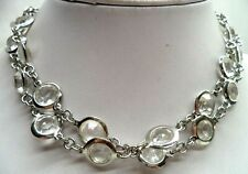 "Tone Rhinestone 28"" Necklace! 6571T Stunning Vintage Estate Signed Br Silver"