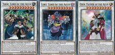 YUGIOH 3 CARD SET - THOR, LORD OF THE AESIR & LOKI &  ODIN, FATHER  - LEHD-ENB30