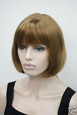 Fashion strawberry blonde side skin top short straight bob synthetic women's wig